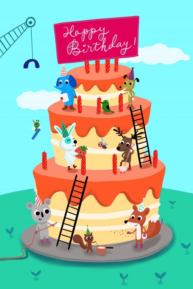 生日派對森林裡動物們做蛋糕 生日 蛋糕 手繪 節日生日派對森林裡動物們做蛋糕  生日  蛋糕PNG和PSD圖片素材 illustration image