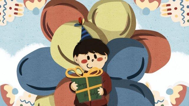手繪生日祝福拆禮物賀卡插畫 生日 禮物 氣球 祝福 賀卡 手繪 蛋糕生日  禮物  氣球PNG和PSD圖片素材 illustration image