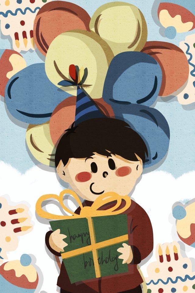 生日禮物氣球祝福 插畫圖片