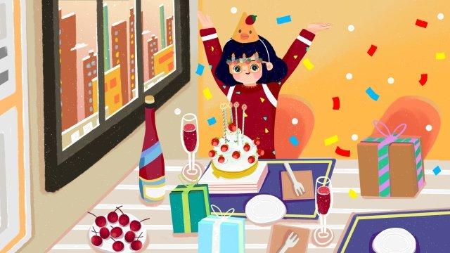 birthday girl happy birthday birthday cake, Candle, Gift, Champagne illustration image