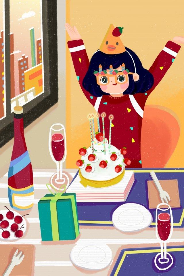 誕生日の女の子誕生日ケーキ イラストレーション画像 イラスト画像
