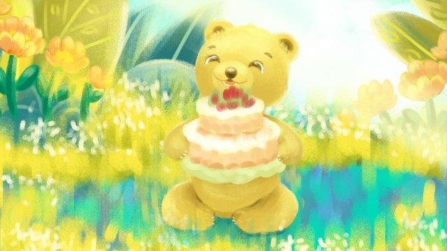 誕生日おめでとうグリーティングカード イラストレーション画像