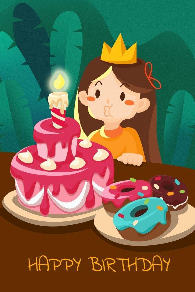 生日快樂蛋糕插圖 插畫圖片