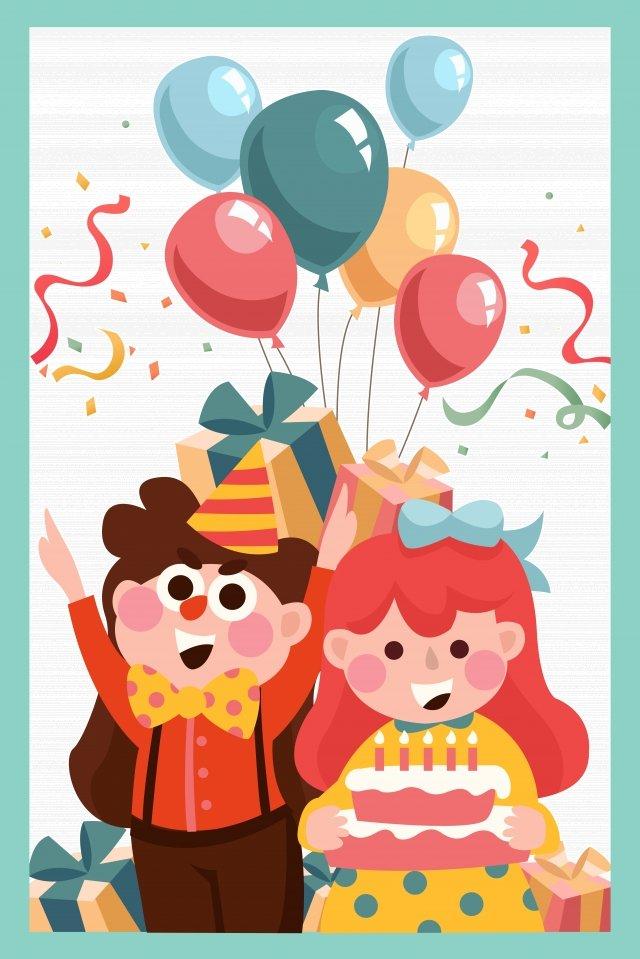 誕生日おめでとう、ケーキを祝う イラストレーション画像 イラスト画像