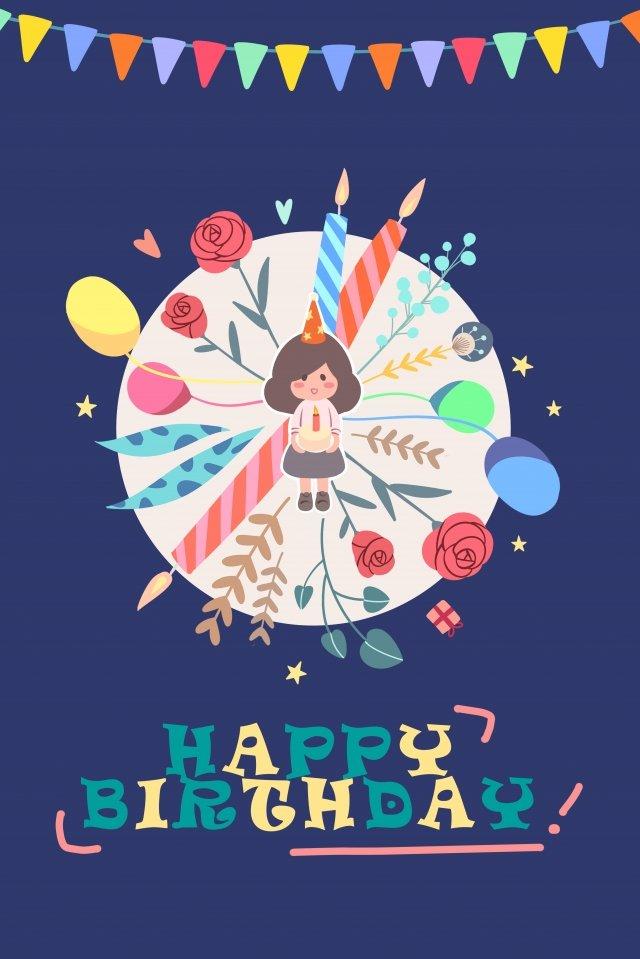 生日賀卡藍色可愛插畫 生日 可愛 插畫生日賀卡藍色可愛插畫  生日  可愛PNG和PSD圖片素材 illustration image