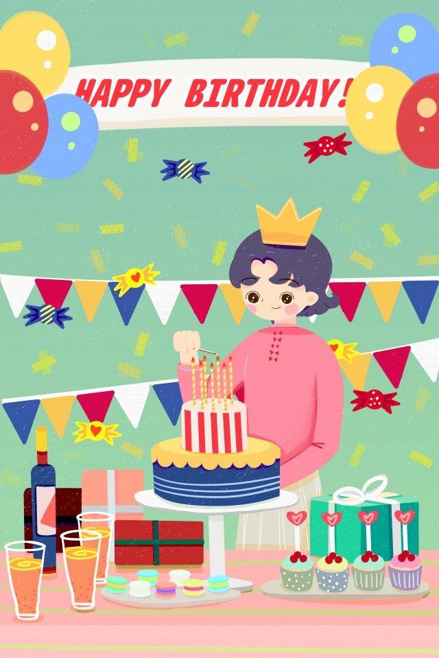 生日派對宴會蛋糕 插畫素材