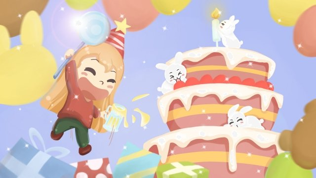 birthday party candle cake, Balloon, Gift, Lollipop illustration image