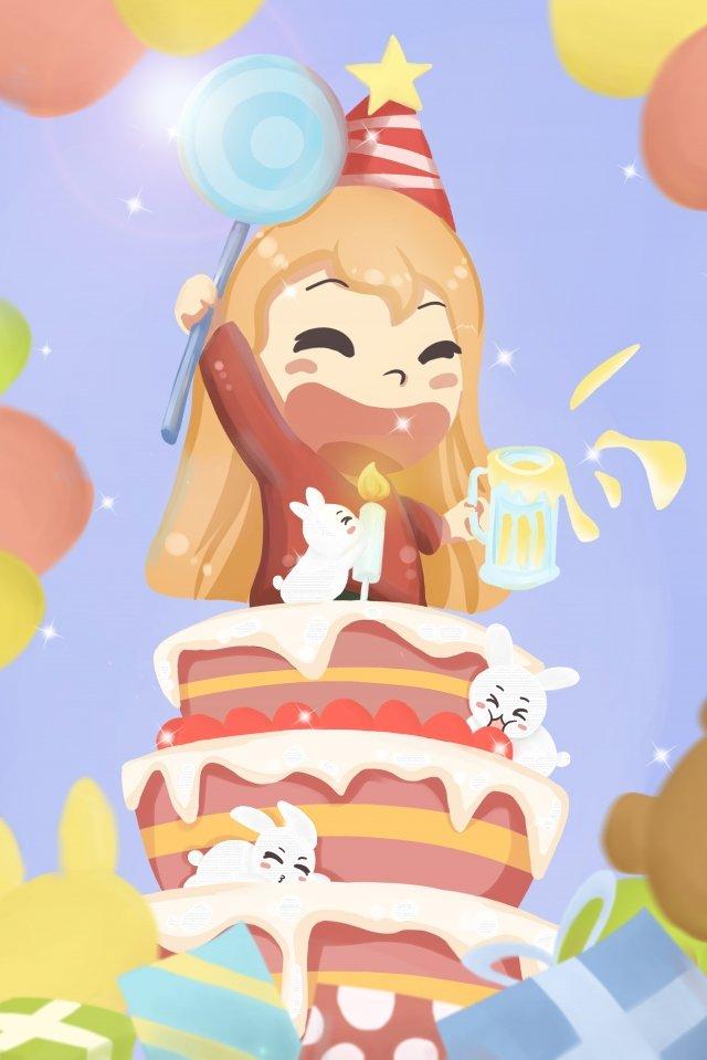 生日聚會蠟燭蛋糕 插畫素材