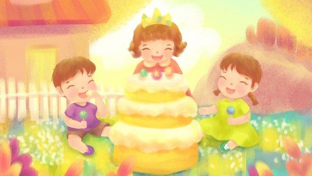 溫馨歡樂小朋友生日聚會兒童插畫 生日 派對 party 祝福 親子 男孩 女孩 小伙伴 好朋友 蛋糕 美味 純真 童年 童話 插畫生日  派對  PartyPNG和PSD圖片素材 illustration image