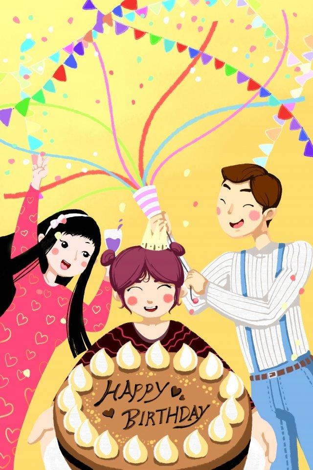 生日場景蛋糕絲帶 插畫素材 插畫圖片