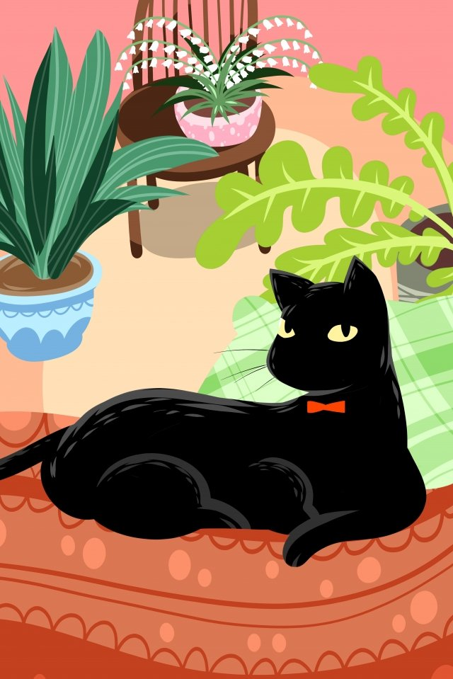 black cat pet cute pet animal, Lovely, Hand Painted, Illustration illustration image
