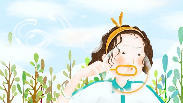 blowing bubbles childrens day hand painted plant llustration image