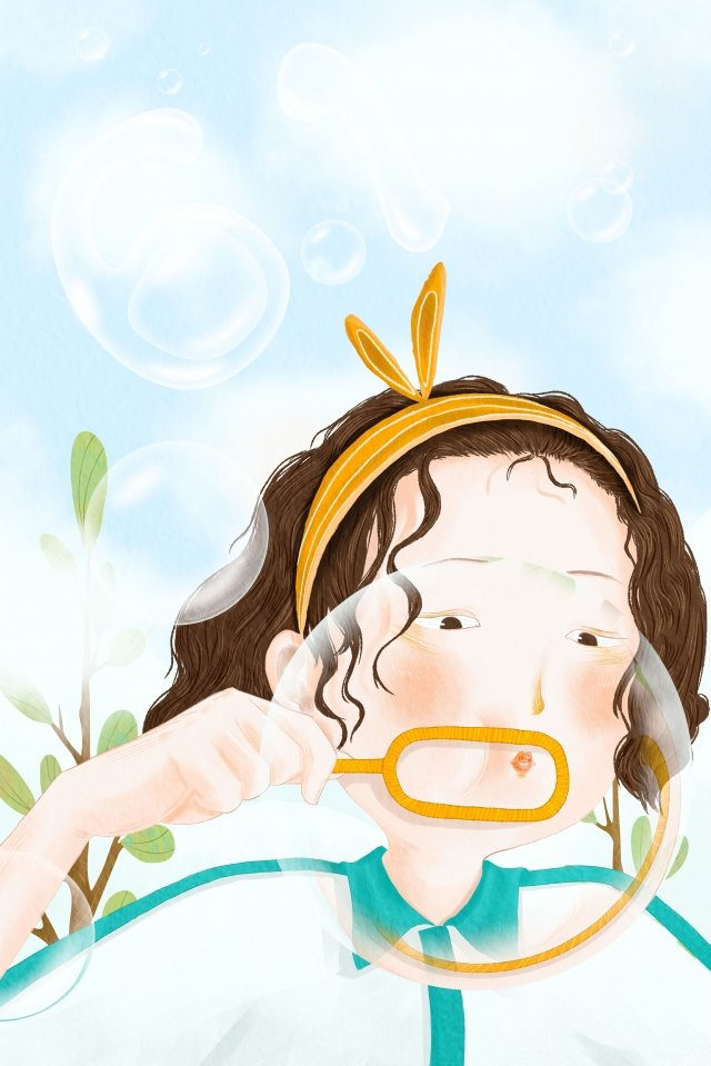 blowing bubbles soap bubble little girl blue sky, 6 1, Childrens Day, Hand Painted illustration image