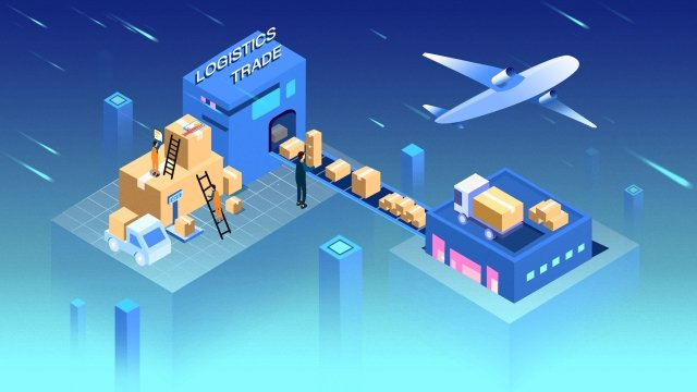 blue air transport ground transportation warehousing llustration image illustration image