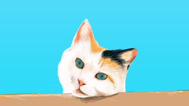blue cat cute pet animal, Lovely, Hand Painted, Blue Sky illustration image
