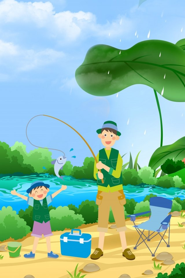 blue fresh hand painted fathers day, Father And Son Fishing, Illustration, Pond illustration image