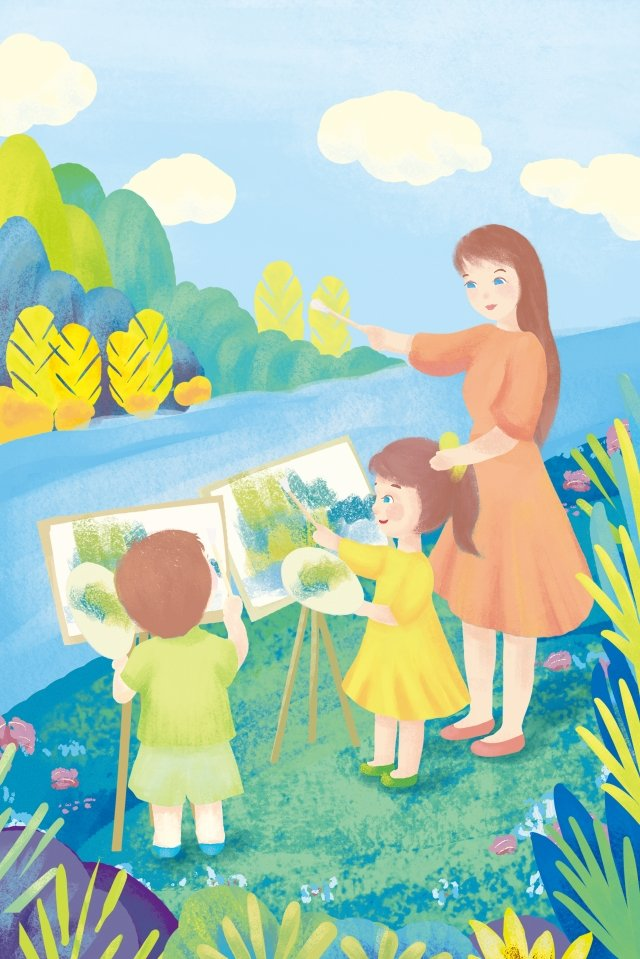 blue green teacher child sketching in the wild llustration image illustration image