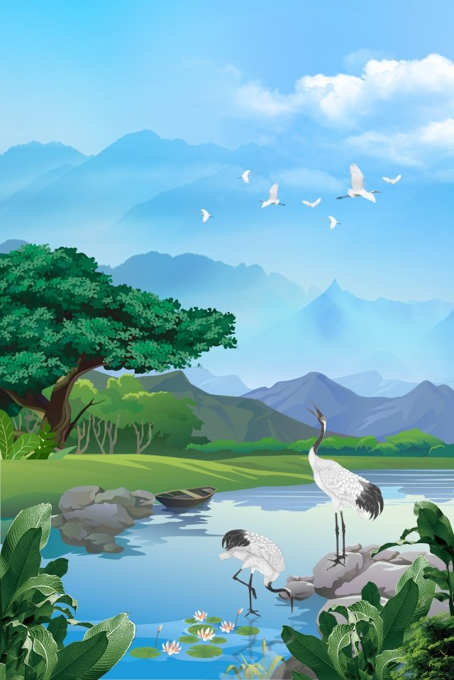 blue hand painted fresh landscape, Crane, Summer Background, Summer illustration image