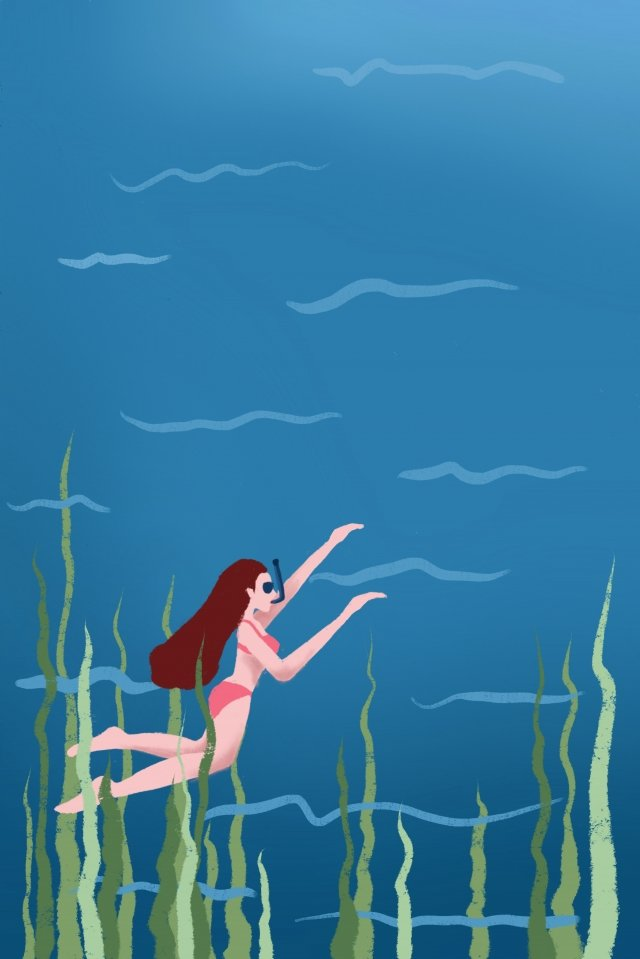 blue hand painted illustration beauty, Snorkeling, Seaweed, Tourism illustration image