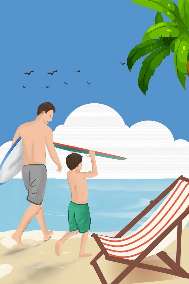 blue illustrator style fathers day father playing with the kids beach llustration image
