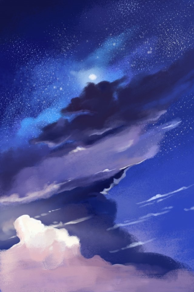 ilustrasi malam nebula biru imej ilustrasi