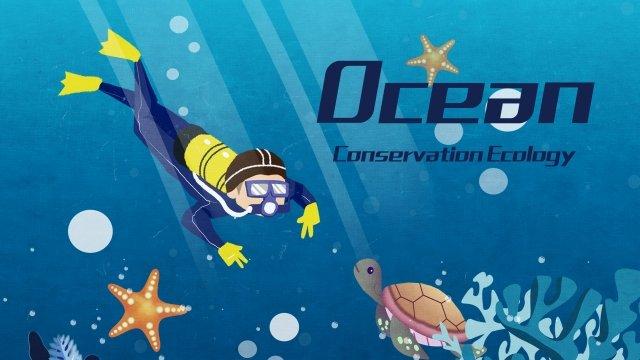 푸른 바다 생태 다이빙 삽화 소재
