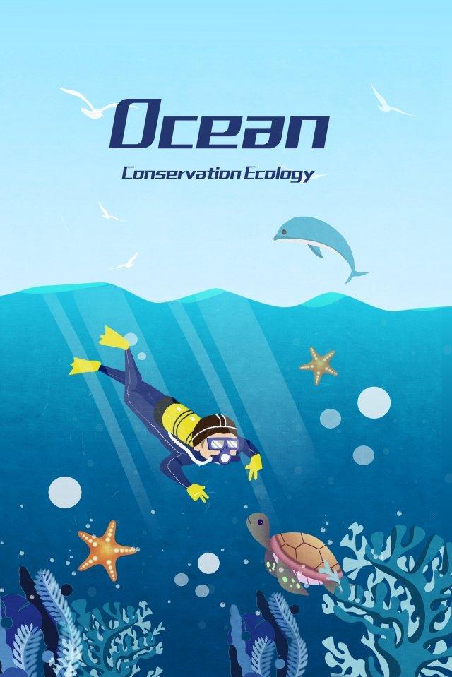 menyelam ekologi laut biru imej ilustrasi
