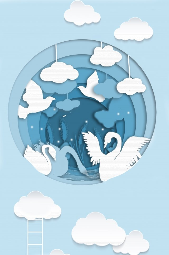giấy xanh cắt mây tươi Hình minh họa Hình minh họa