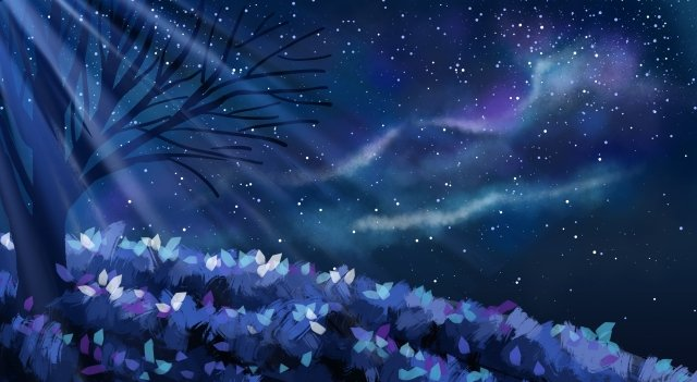 blue romantic starry sky flower, Moonlight, Fantasy Starry Sky, Star illustration image