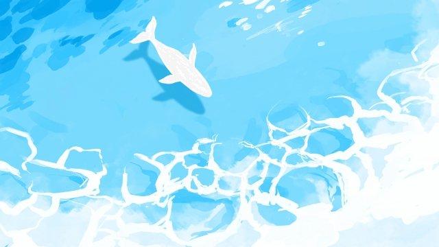青い海巻き貝の貝殻ヒトデ イラスト素材