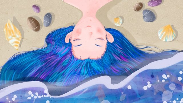 blue ocean teenage girl cobblestone, Shell, Conch,  illustration image