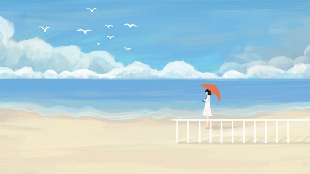 blue sky white clouds beautiful cure, Sea, Seaside, Beach illustration image