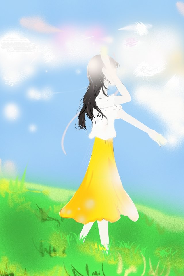 blue sky white clouds girl long skirt, Grassland, Open, Landscape illustration image