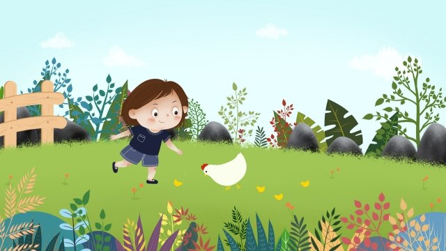 blue sky white clouds sky child, Grassland, Feeding Chicken, Chick illustration image