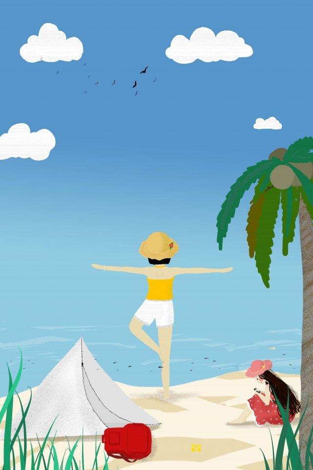 Langit biru dan awan putih mengembara poster pantai Biru Awan putih langit Perjalanan Pantai Poster Album TanganBiru  Awan  Langit PNG Dan JPA illustration image