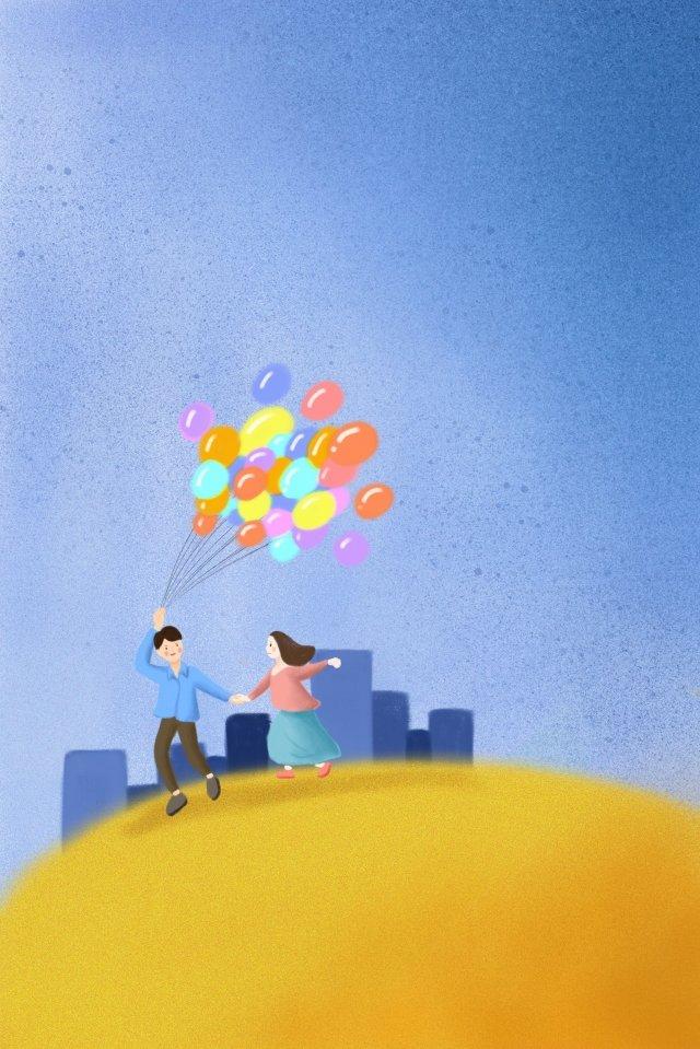 couple ballon bleu jaune image d'llustration