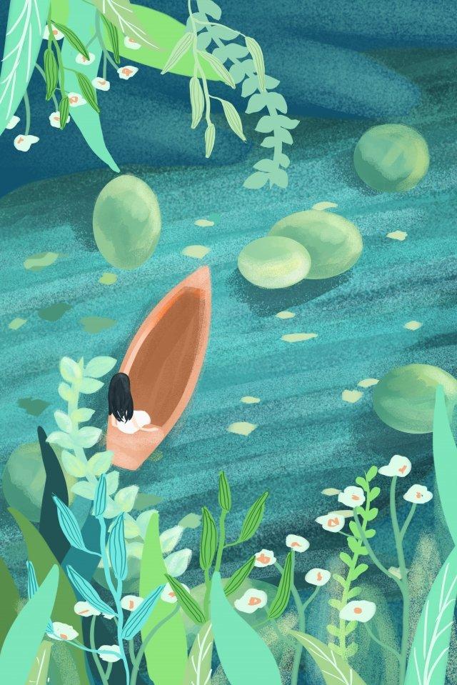划船女孩荷葉湖表面 插畫圖片