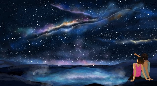 boy girl couple lake surface, Starry Sky, Dream, Romantic illustration image