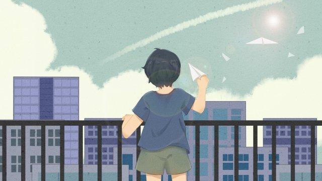 लड़का किशोर वापस आकाश देखें चित्रण छवि
