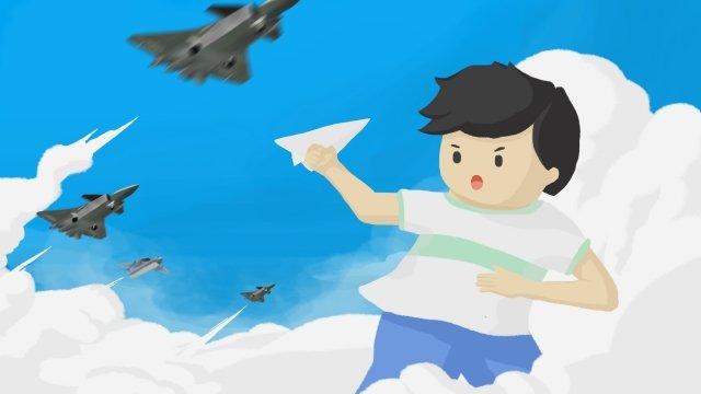 boy paper plane fighter blue sky llustration image illustration image