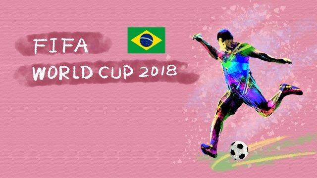ブラジルサッカーワールドカップ2018 イラスト素材