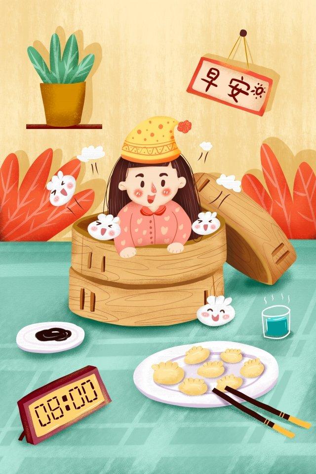 завтрак жизнеспособность девушка пижама Ресурсы иллюстрации