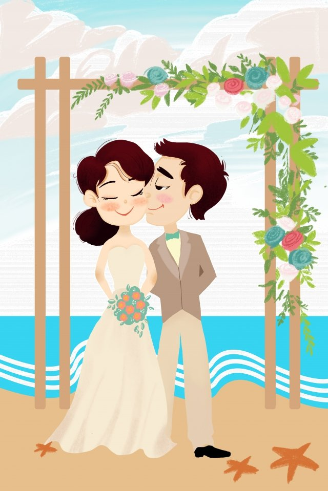花婿花嫁花ドア結婚式 イラスト素材 イラスト画像