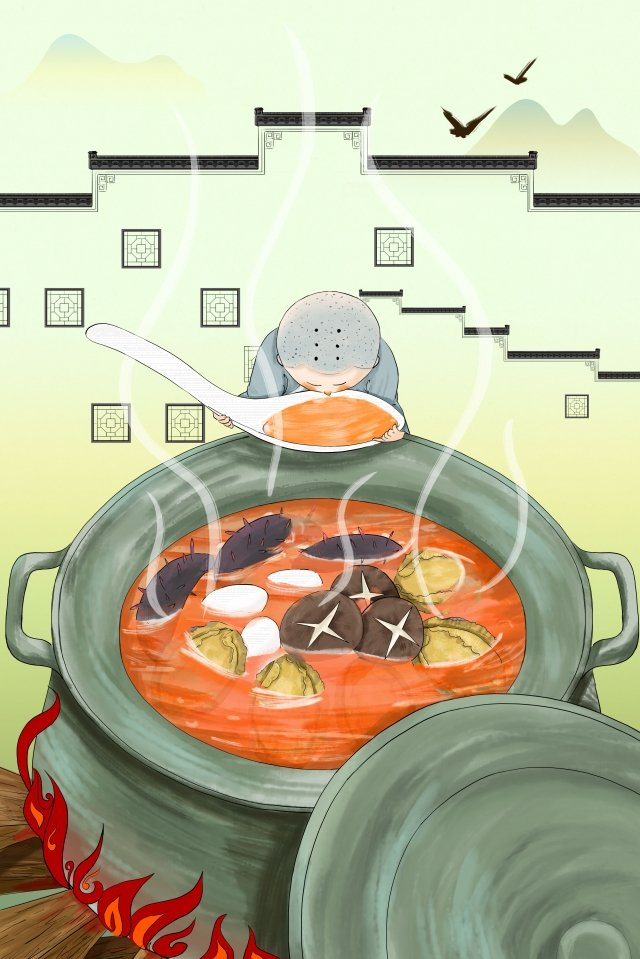 buddha jump wall chinese style big soup pot little monk llustration image