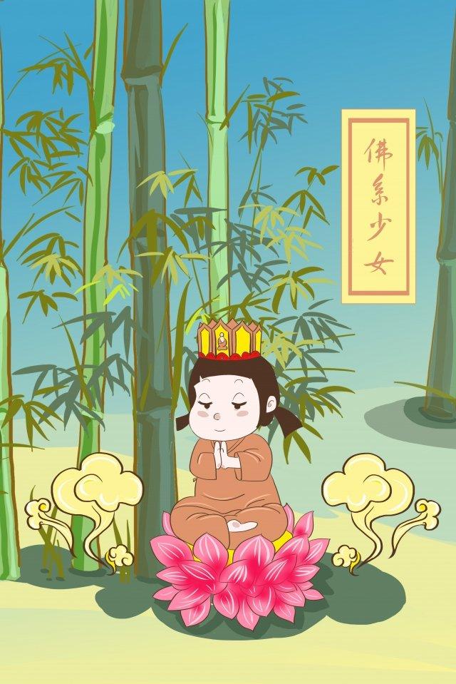 仏教徒の女の子唐魏竹蓮 イラスト素材