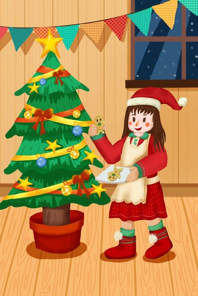 旗布聖誕樹聖誕節聖誕節帽子 插畫素材