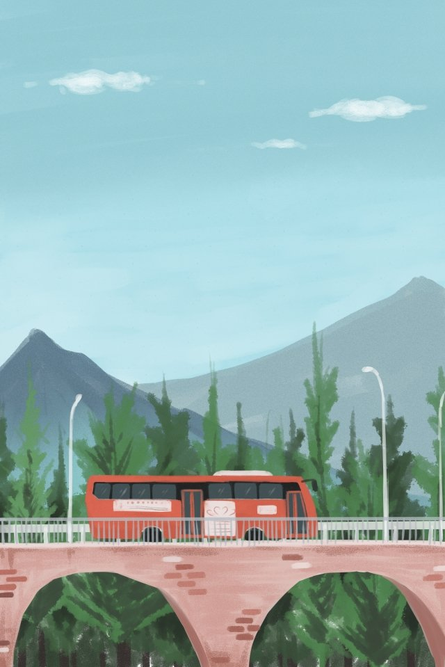 bus bus city landscape llustration image