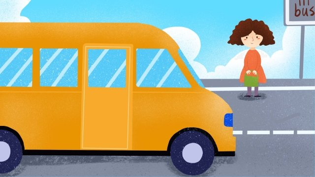 坐公交车插画 公交车 公交出行 出行方式女孩  手绘插画  等车PNG和PSD illustration image