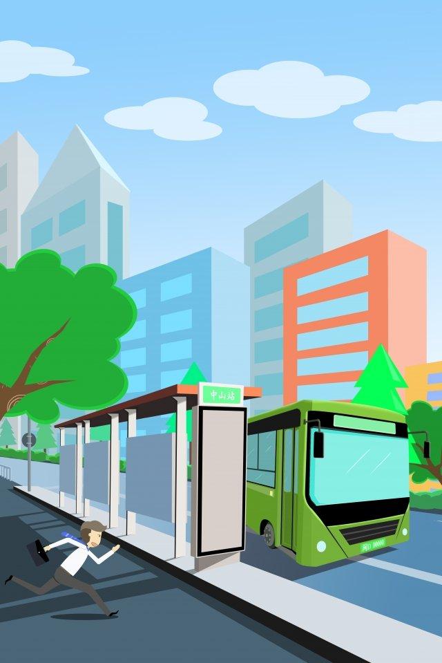 バス市内旅行交通 イラスト画像