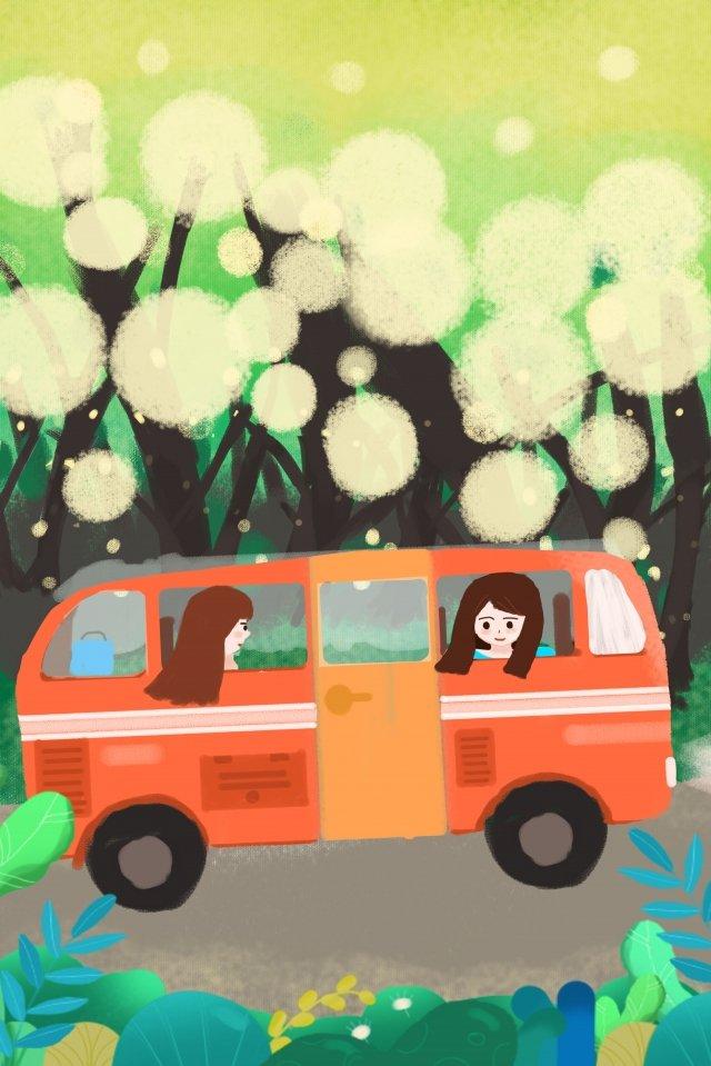 バス旅行二重グループ イラストレーション画像 イラスト画像